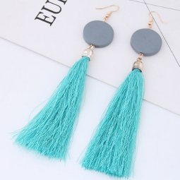 C090433217 Blue Tassel Wodden Grey Gold Hook Earrings