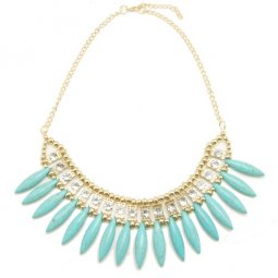 A-Q-Q9019 Blue spike bead moon choker necklace rantai borong sho