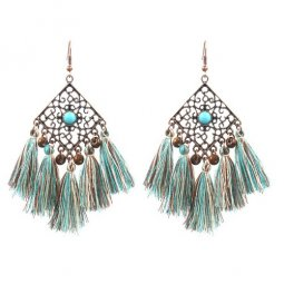 A-HH-HQET Green Blue Brown Tassel Vintage Style Hook Earrings