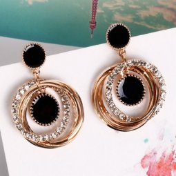 A-FX-E6102round Black Round Gold Circle Loop Diamonds Earstuds