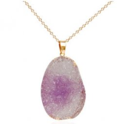 A-HY-L-PUR Purple Druzy Stone Bead Gold Long Necklace