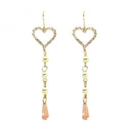 A-LG-ER0464(A) Crystal Heart Dangling Pearl Beads Hook Earrings