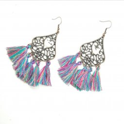 A-HH-HQEF-129mix1 colour hook tassel earring