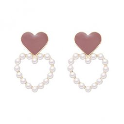 A-TT-903 Trendy Dusty Pink Hearts With White Pearl Love Earstuds