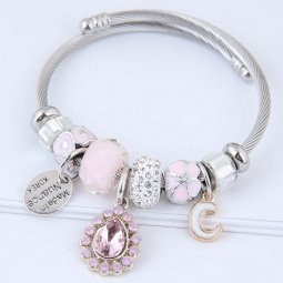 C100707112 Pink Stones and Beads C Silver Adjust Charm Bangle