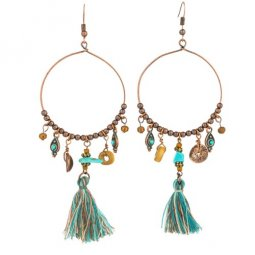 A-KJ-E020606g Vintage Oval Dangling Elegant Tassel Hook Earrings