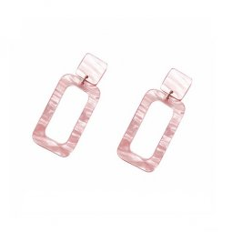 A-LG-ER0583-2 Pink Gold Classic Pearl Rectangle Square Earstuds