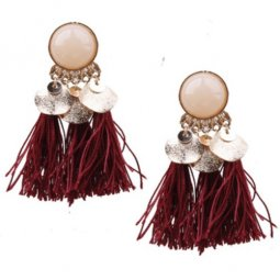 A-SD-EH0289ma Maroon Bead Tassel Earstuds Wholesale Shop
