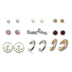 B-MLSF-A6020-Diamond Love Pink Red Diamond Pearl Earstudss