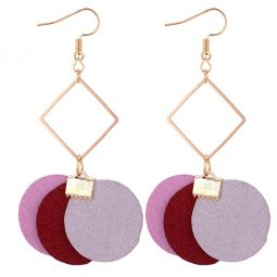 P131110 Grey Maroon Pink Geometry Korean Inspired Earrings