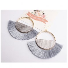 A-SD-er0358grey Marble Grey Spread Tassel Hook Earrings
