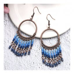 A-HH-HQEF1450 Blue Sea Beads & Crystals Circle Hook Earrings