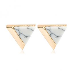 A-JW-6967 Trendy White Triangle Marble Gold Side Fashion Earstud