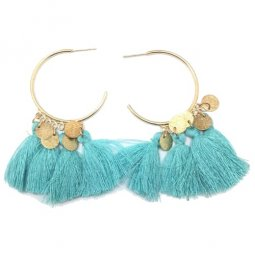 A-SD-EH525tur Turquoise Dangling Round Tassel Earstuds Wholesale