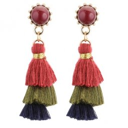 P129294 3 Layers Mini Bead Tassel Hook Earrings Malaysia Shop
