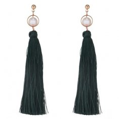 P133690 Dark Green Tassel With Pearl White Beads Earstuds