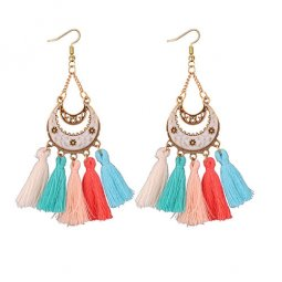 P133876 5 Colours Tassel White Crescent Moon Charm Hook Earrings