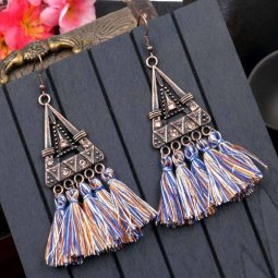 A-HH-HQEF1023bluebrown Blue Brown Tassels Triangle Vintage Hook