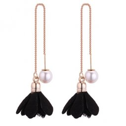 P130511 Black Flower Cloth White Bead Korean Linked Earstuds