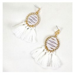 a-SD-XL286white White Tassel Laced Up Summer Strings Earrings