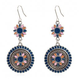 A-HH-HQEF1069(blue) Blue Painted Sunflower Silver Hook Earrings