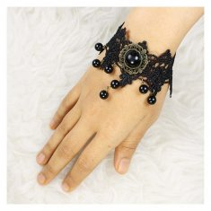 A-Tattoo-005 Black Lace Bracelet Vinitage Big Beads Choker Style