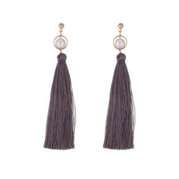 P133689 Grey Tassel With Pearl White Beads Earstuds Wholesale