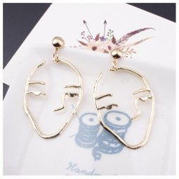 A-SD-XL112924gold Korean Hipster Golden Face Earstuds Wholesale