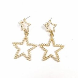 A-SD-ER0365 Gold White Pearl Star Elegant Collection Earstuds