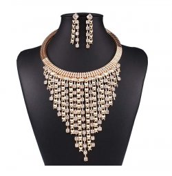 A-QD-N3589 Glam Fancy Gold Square Crystal Stud Necklace Set