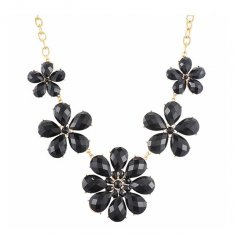 A-H2-X597black Black Large Flowers Beads Diamond Inspired Neckla