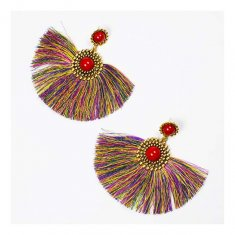 A-FF-E6697colourful Colourful Tassel Statement Earrings Red Bead