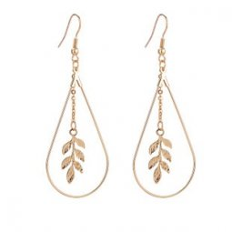 A-Q-Q8184 Gold oval leave dangling hook earrings anting borong