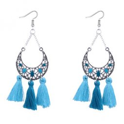 P127535 Blue Turquoise Moon Spring Tassel Hook Earrings Supplier