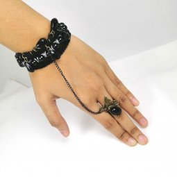 A- UK 3 - VINTAGE PEARL BLACK BRACELET LINKED RING MALAYSIA