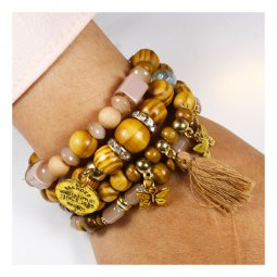A-UK-goldb Wooden Texture Style With Butterflies Charm Bracelets