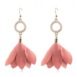 A-HH-HQEF1051salmon Salmon Tulip Petals Circle Pearls Earrings