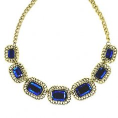 A-H2-UK 2 Blue Ocean of Queen Square Statement Necklaces