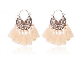 A-hh-HQEF-413-3 white cream gold tassel vogue hoop earring