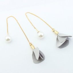 P125034 Grey flower elegant cloth korean inspired earstuds