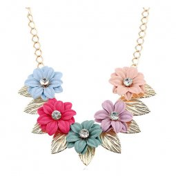 A-FF-FL87 Colourful Flower Crystal Beads Golden Leaf Necklace