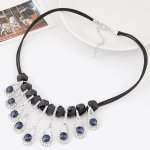 C110509133 Blue teardrop crystals shiny choker necklace malaysia