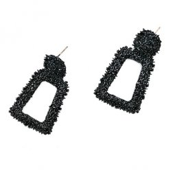 A-FX-UK1-BLACK STATEMENT BULKY SHINY CIRCLE SQUARE EAR
