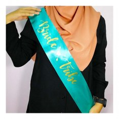 A-SH-014 Turquoise Bride Tribe Gold Cursive Wording Party Sashes