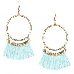 A-KJ-E020336blue Sky Blue White Tassel Round Hook Earrings