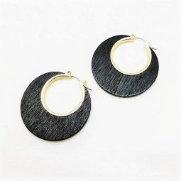 A-LG-ER1082- Black Simple Classic Circle Earstuds Earrings
