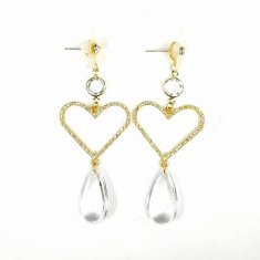 A-TT-F297 Gold Love Sparkling Diamond Big Oval Pearls Earstuds