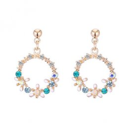 A-TT-724CIRCLE Flowers With Blue Crystals Circle Elegant Earstud