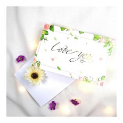 A-LH-GREENLY Love You Wording With Roses and Leaves Gift Cards