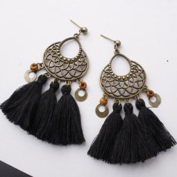 A-SD-XL0812black Black Tassels Vintage Tangling Beads Earstuds